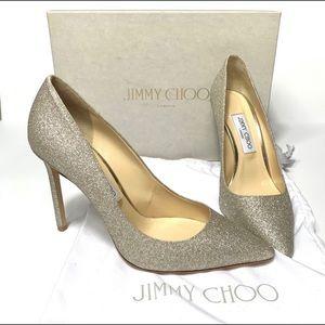 Jimmy Choo 85 Romy Pump Platinum Ice Glitter